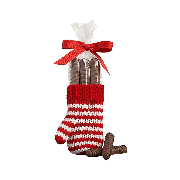 Mitten with Chocolate Pretzel Rods