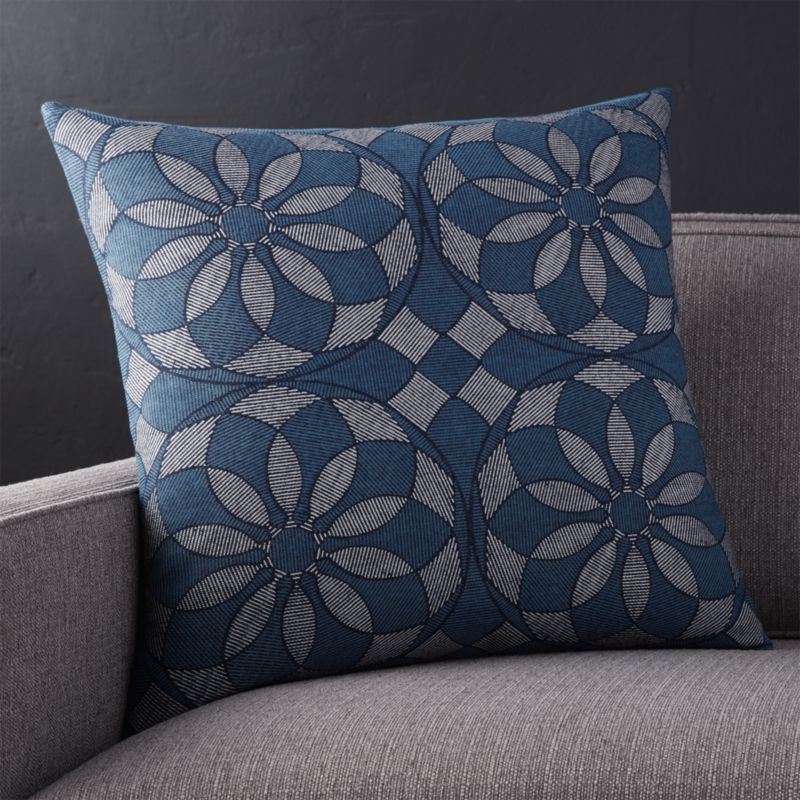 "Mohana Blue 20"" Pillow with Down-Alternative Insert"