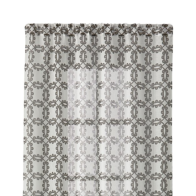 """Molly 48""""x96"""" White and Grey Curtain Panel"""