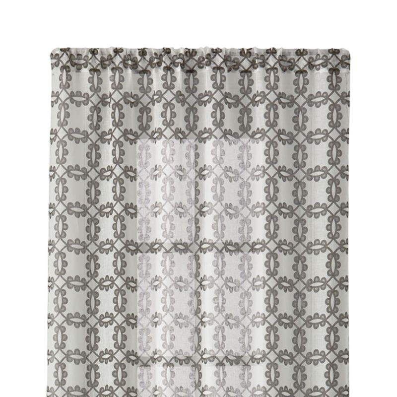 """Molly 48""""x84"""" White and Grey Curtain Panel"""