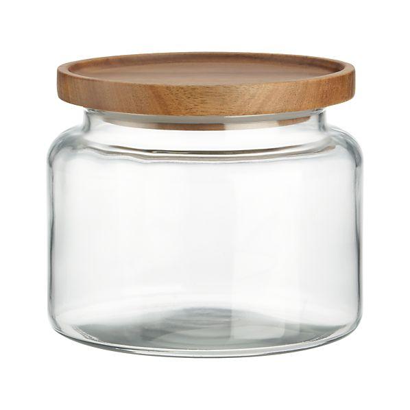 Montana 48 oz. Acacia and Glass Jar
