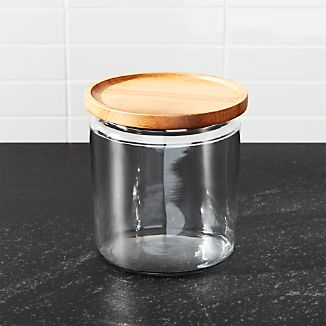 Montana 64 oz. Acacia and Glass Jar