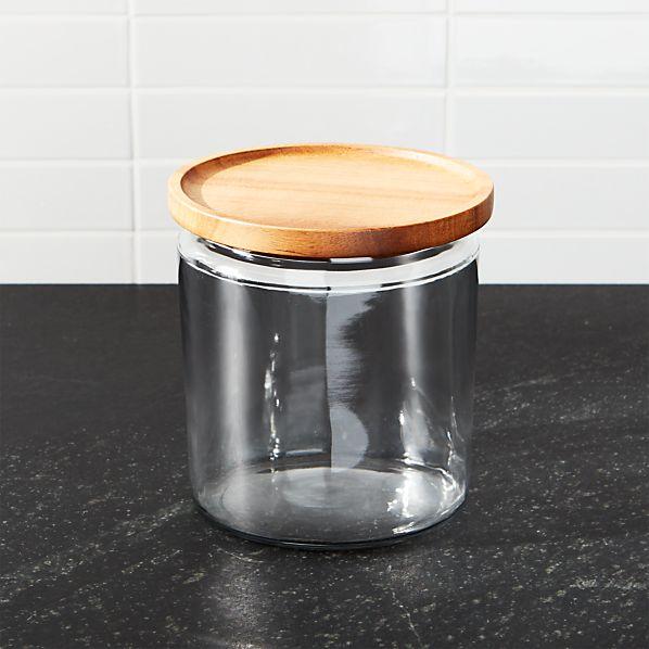 Montana 64 oz. Acacia and Glass Jar