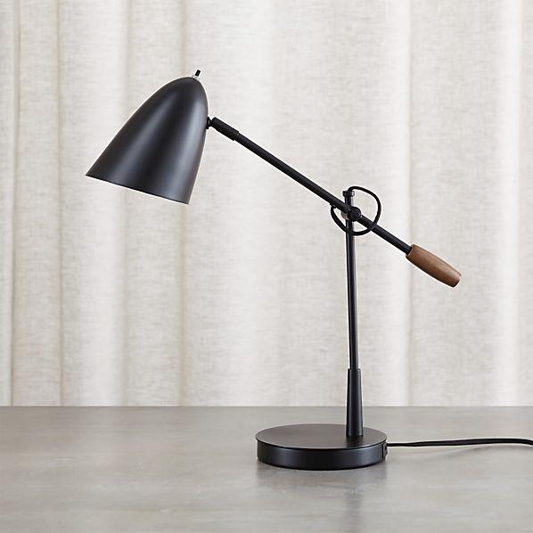 morgan black metal desk lamp with usb port. Black Bedroom Furniture Sets. Home Design Ideas