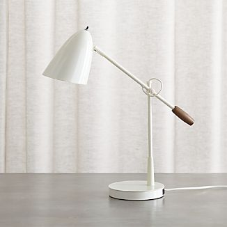 Morgan Ivory Metal Desk Lamp with USB Port