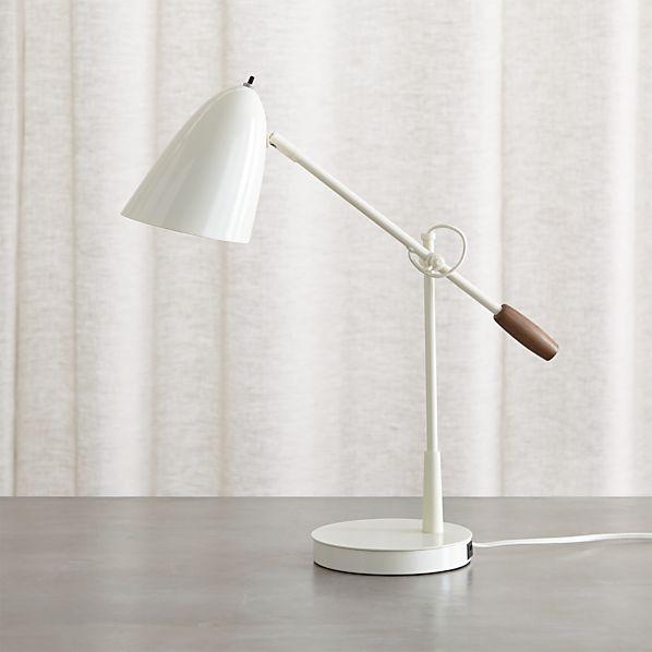 Morgan Ivory Metal Desk Lamp with USB Port