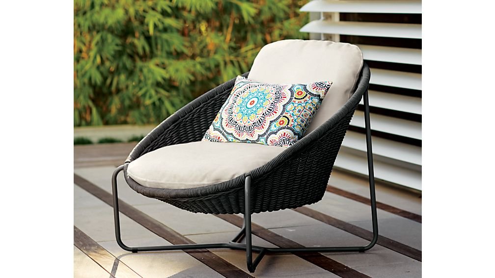 Morocco Charcoal Oval Lounge Chair with Cushion