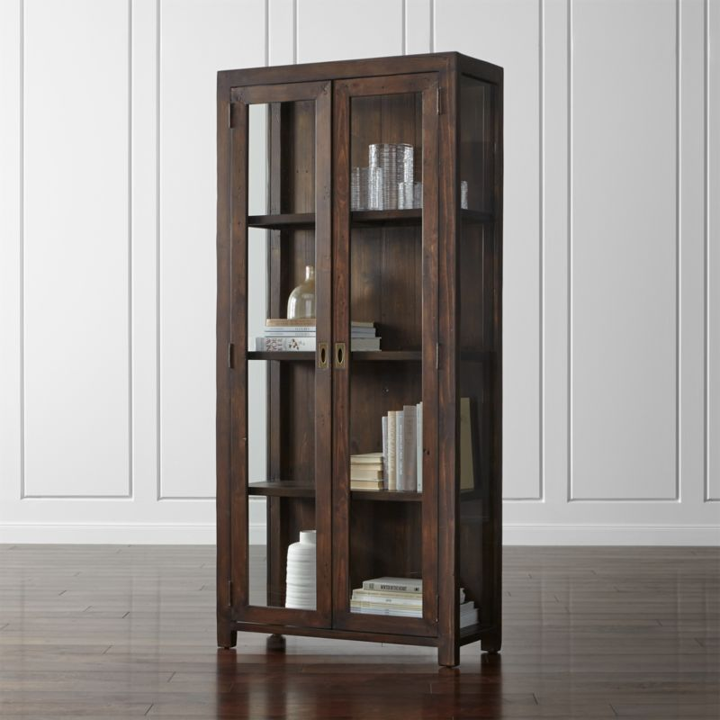 Morris chocolate brown bookcase crate and barrel for Librerie angolari