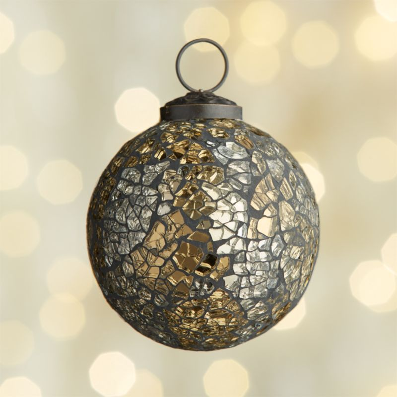 Mosaic Gold/Black Ball Ornament