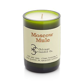 The refreshment of a Moscow Mule, now available in a scented candle with a conscience. Celebrating the resurgence of the cocktail classic, each lime-infused, hand-poured soy candle is held in an upcycled bottle salvaged by Chicago Candle Co. from area bars and restaurants.