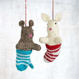 Mouse in Mitten and Bunny in Sock Ornaments