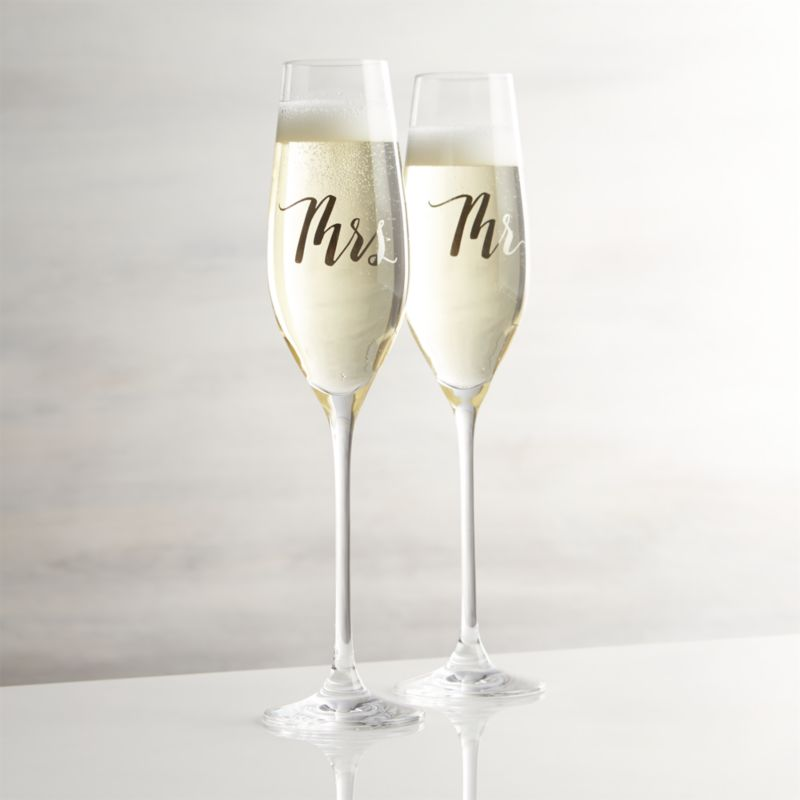 Mr And Mrs Champagne Glasses Crate Barrel