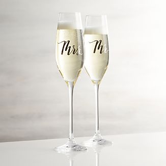 Mr. and Mrs. Champagne Glasses