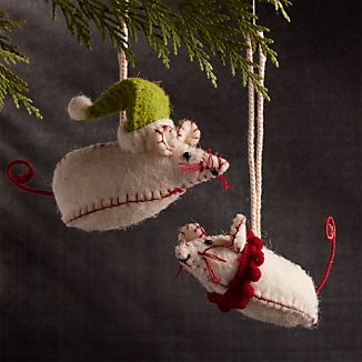 Mr. and Mrs. Mouse Felt Ornaments