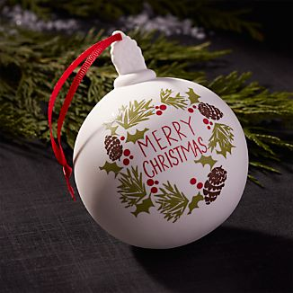 Merry Christmas Wreath Porcelain Ball Ornament