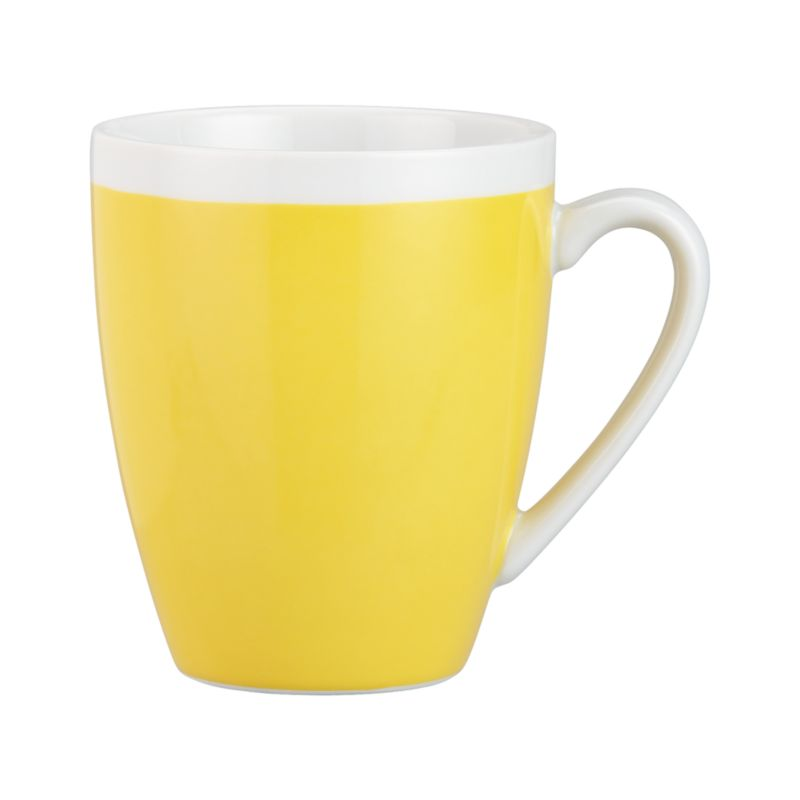 A pop of color for everyday dining. Clean, coupe shape is yellow with a wide band of white around the rim.<br /><br /><NEWTAG/><ul><li>Porcelain</li><li>Dishwasher-, microwave- and oven-safe to 350 degrees</li></ul>