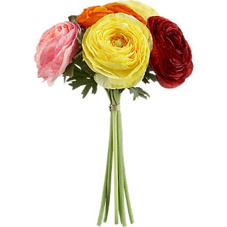 Ranunculus's brilliantly colored whorls of delicate petals are captured in lifelike blooms. Cluster as a charming bouquet or scatter about the home for springtime color that won't fade or whither.