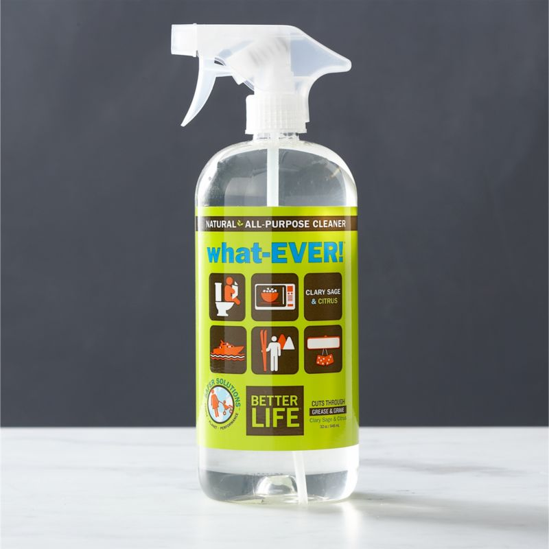 Aspire to a healthier clean for your home. This eco-friendly, all-purpose cleaner is better for people, pets and the planet. Carefully formulated in the USA with natural ingredients, this plant-based solution effectively handles your toughest cleanups and is safe to use on any surface. It's non-toxic, solvent-free (no ammonia, alcohol, ethers) and contains no VOCs. A smart choice for sensitive skin, this cleaner is free of perfumes and dyes and is pH neutral with a refreshing citrus scent thanks to essential oils of clary sage and citrus.<br /><br />As parents of young children, lifelong friends Tim Barklage and Kevin Tibbs became concerned about toxic residues left behind by traditional cleaners. Tim challenged Kevin, an innovative chemist, to create a cleaning product that would set the standard for safety. In 2007, they founded Better Life™, a better line of products and a better life for all.<br /><br /><NEWTAG/><ul><li>Created by Better Life™</li><li>Eco-friendly, all-purpose household cleaner that's safe for kids and pets</li><li>Formulated with natural, plant-based ingredients</li><li>Naturally scented with essential oils of clary sage and citrus</li><li>Safe to use on any surface</li><li>Non-toxic, solvent-free</li><li>Contains no ammonia, alcohol, ethers or VOCs</li><li>Gluten-free, hypoallergenic and 100% biodegradable</li><li>Not tested on animals</li><li>Safe for sensitive skin: pH neutral, free of perfumes and dyes</li><li>Safe for waterways and marine life</li><li>Made in USA</li></ul>