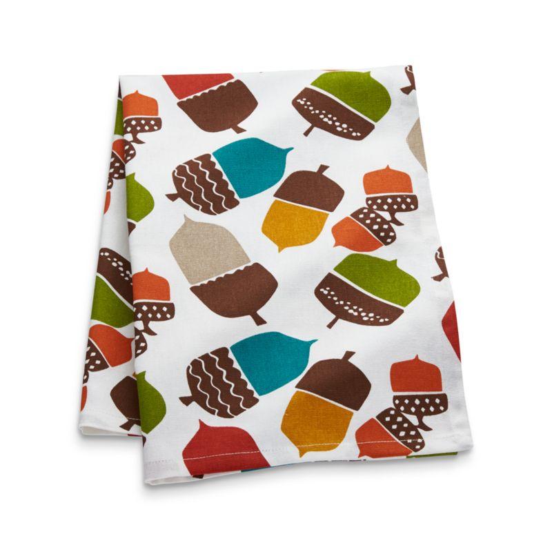 Multicolored Acorns Dish Towel