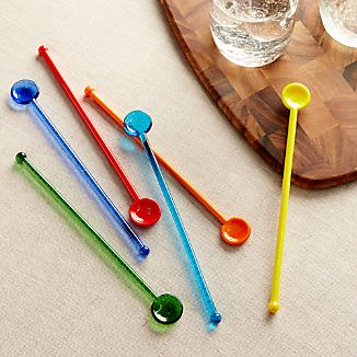 Multicolored Glass Swizzle Sticks Set of 6