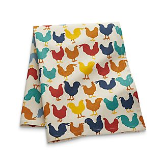 Multicolored Roosters Dish Towel