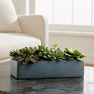 The sculptural beauty of desert succulents, realistically handcrafted for year-round use. Incredibly life-like faux plants are potted in a rectangular grey terra cotta container.