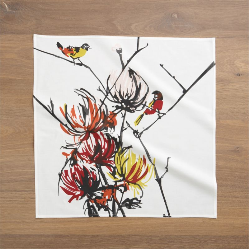 Sweetly rendered birds alight on branches of feathery mums in this artfully painted design by Luli Sanchez, printed on 100% cotton.<br /><br /><NEWTAG/><ul><li>Designed by Luli Sanchez</li><li>100% cotton</li><li>Machine wash cold, tumble dry; warm iron as needed</li><li>Do not dry clean</li></ul>
