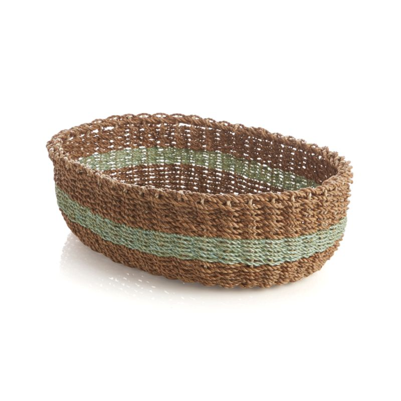 A pale green band adds a ring of color to the earthy neutrals of our chunky basket handwoven of lampakanay and abaca fibers. Great for serving breads, storing fresh vegetables or serving as a countertop catchall.<br /><br /><NEWTAG/><ul><li>Handcrafted</li><li>Lampakanay and abaca fibers</li><li>Wipe clean with damp cloth</li><li>Made in The Philippines</li></ul>