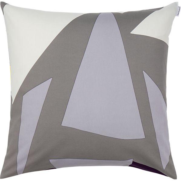 "Marimekko Musta Virta Grey 20"" Pillow"