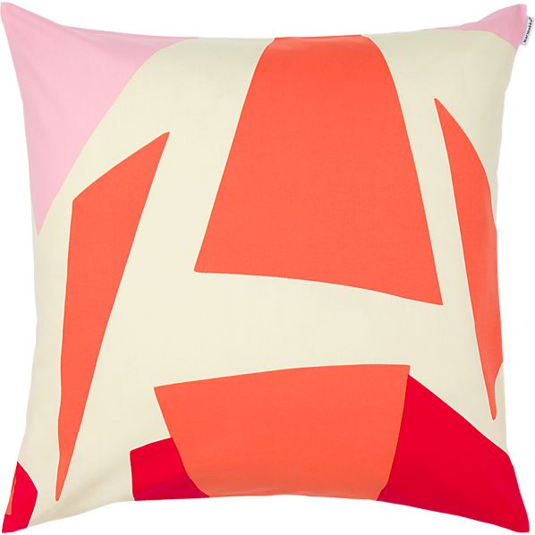 "Marimekko Musta Virta Red 20"" Pillow"