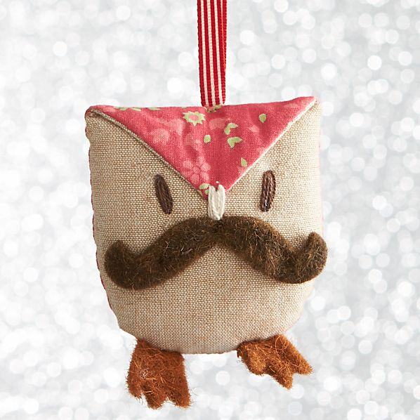 Mustache Owl with Brown Feet Ornament