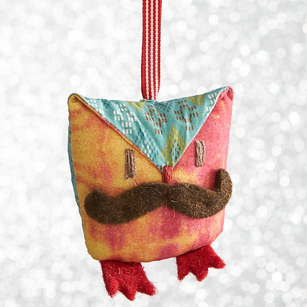Mustache Owl with Red Feet Ornament