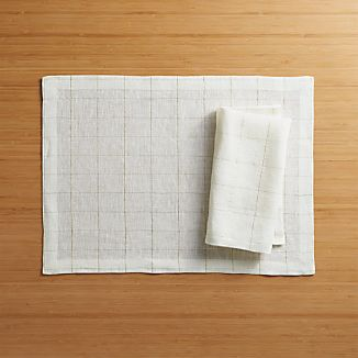 Myla Gold Linen Placemat and Myla Gold Linen Napkin