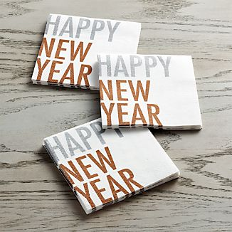 Set of 20 New Year's Eve Paper Beverage Napkins