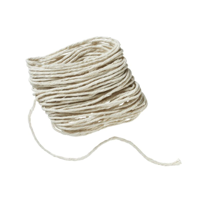 Cotton twine trusses poultry for even cooking, or ties up rolled and wrapped foods. May also be used as kite string and to bundle periodicals for recycling.<br /><br /><br /><br />