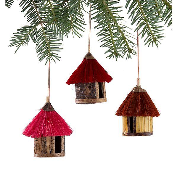 Set of 3 Fiber Hut Ornaments