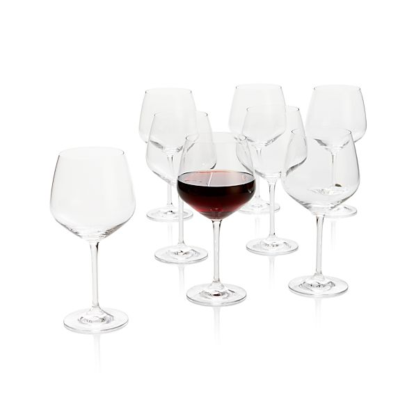 Set of 8 Nattie Big Red Wine Glasses
