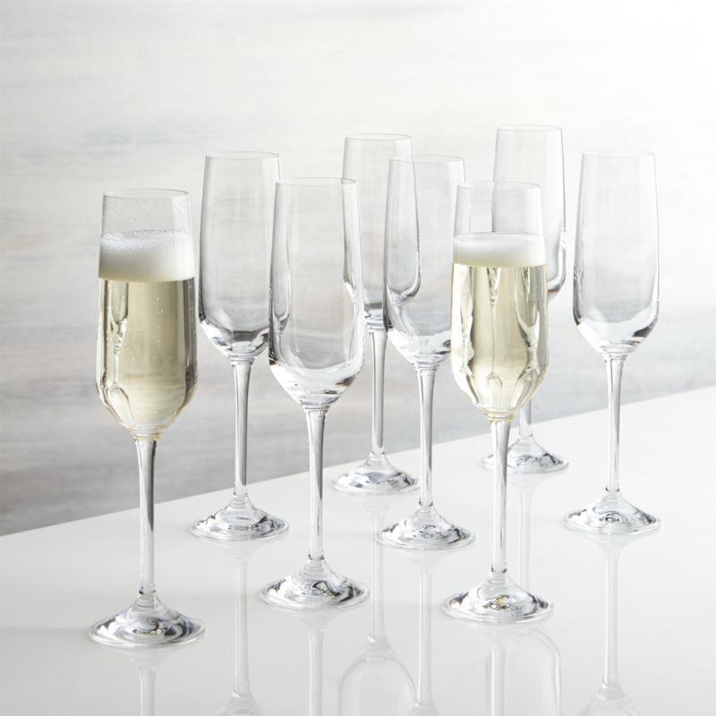 set of 8 nattie champagne glasses crate and barrel. Black Bedroom Furniture Sets. Home Design Ideas