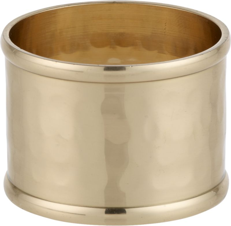 A golden cuff of lacquer-finished hammered iron lends a polished look to casual or formal table settings. Also mixes with matching bronze and silver rings.<br /><br /><NEWTAG/><ul><li>Handmade</li><li>100% iron</li><li>Water-based lacquer finish</li><li>Made in India</li></ul>