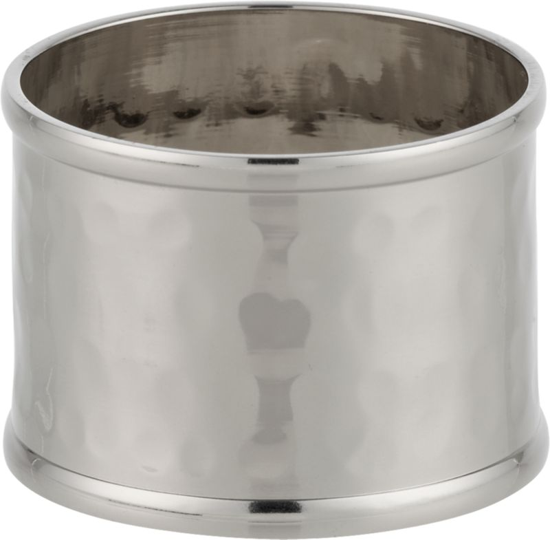 A silvery cuff of lacquer-finished hammered iron lends a polished look to casual or formal table settings. Also mixes with matching bronze and gold rings.<br /><br /><NEWTAG/><ul><li>Handmade</li><li>100% iron</li><li>Water-based lacquer finish</li><li>Made in India</li></ul>