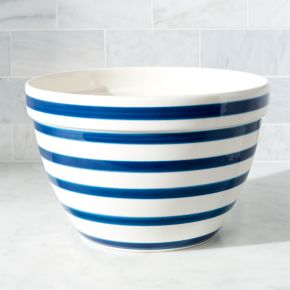 Large Navy and White Striped Mixing Bowl