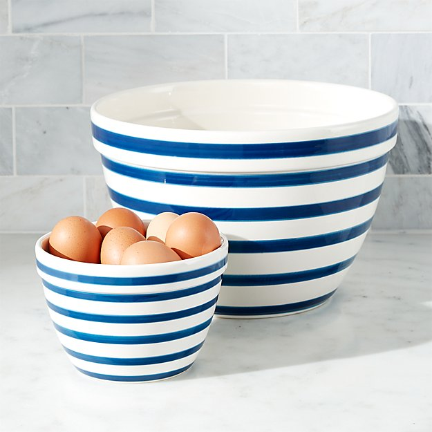Navy and White Striped Mixing Bowls
