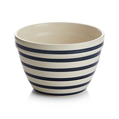 Small Navy and White Striped Mixing Bowl