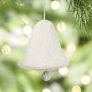 Needle Felt White Bell Ornament