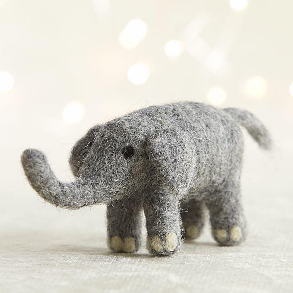 Needle Felt Wool Elephant Ornament