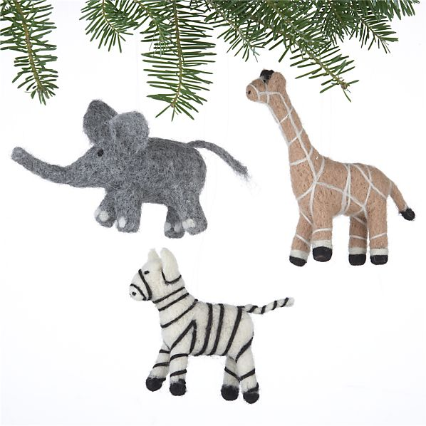 Set of 3 Needle Felt Wool Safari Animal Ornaments