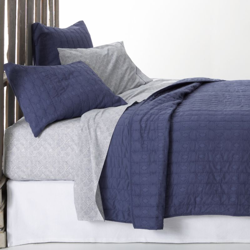 Brilliant blue, gathered in hand-quilted rows and patterned with diamonds, lending rich texture to soft cotton and cotton voile. Quilt tops the bed with lightweight warmth, ready to layer when the temperature drops.<br /><br /><NEWTAG/><ul><li>100% cotton</li><li>100% polyester filling</li><li>Machine wash cold, tumble dry low</li><li>Do not iron</li><li>Made in India</li></ul>