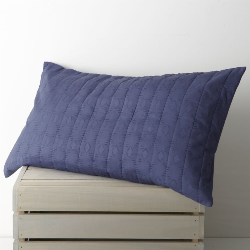Brilliant blue, gathered in hand-quilted rows and patterned with diamonds, lending rich texture to soft cotton and cotton voile. Sham reverses to a cotton voile with a generous overlapping closure. Duvet inserts and bed pillows also available.<br /><br /><NEWTAG/><ul><li>100% cotton</li><li>Machine wash cold, tumble dry low</li><li>Do not iron</li></ul>