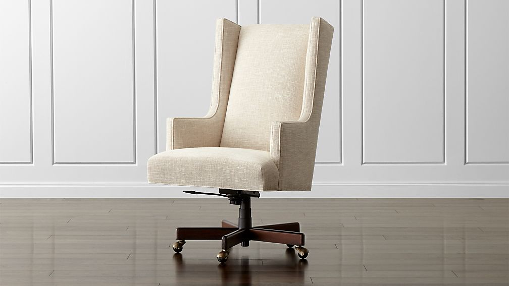 Neo Upholstered Wingback Office Chair Gibson Oatmeal