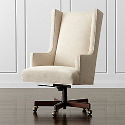 Neo Leather Wingback Office Chair Manhattan Pewter